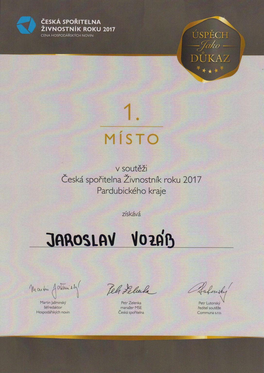 Živnostník roku 2017 Pardubice